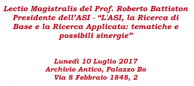 Lectio Magistralis del Prof. Roberto Battiston