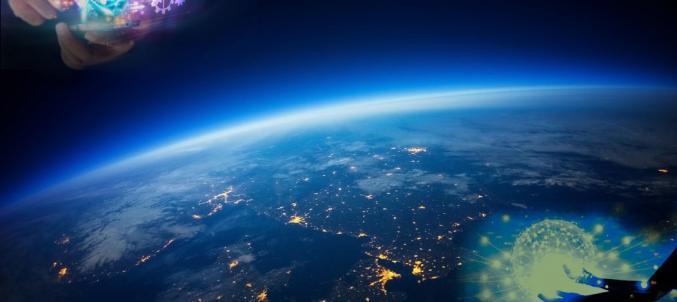 immagine dallo spazio, rete, tecnologia